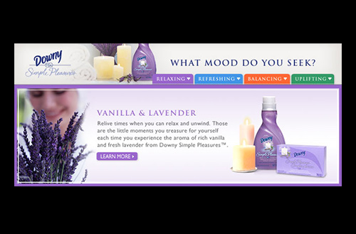 Screenshot showing the Relaxing tab and the Vanilla & Lavender Downy Simple Pleasures