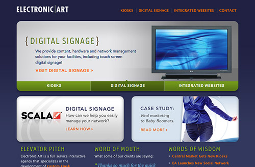 Screenshot of the Electronic Art website homepage