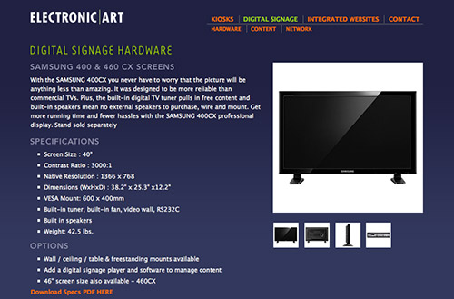Screenshot of an Electronic Art website hardware page