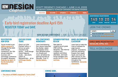 Screenshot of the 2005 How Design Conference homepage