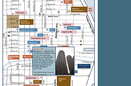 Screenshot showing details of the 2005 map with information about Marina City
