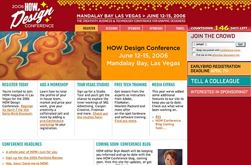 Screenshot of the 2006 How Design Conference homepage
