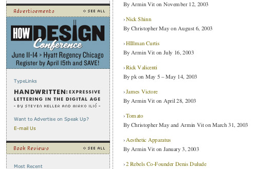 Screenshot of an ad for the 2005 Conference that ran on the website underconsideration.com