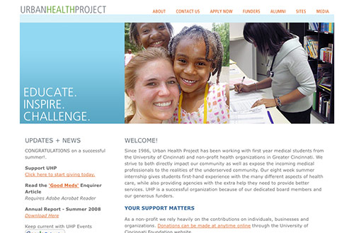 Screenshot of the Urban Health Project website homepage
