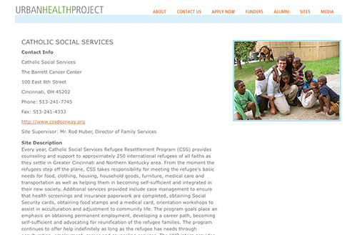 Screenshot of the site description for Catholic Social Services