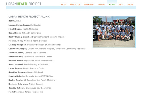 Screenshot of the alumni page