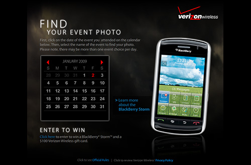 Screenshot of the Verizon Wireless Storm Microsite home page